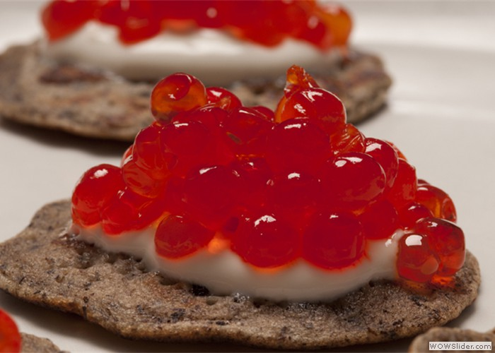 Blini with Red Caviar Hors D'Oeuvres or Station
